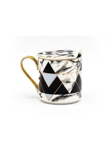 Sembol Siyah Piramit Desen Porselen Kapaklı Kupa Renkli